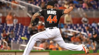 Sep 24, 2016; Miami, FL, USA; Miami Marlins relief pitcher A.J. Ramos (44) pitches in the ninth inning Atlanta Braves at Marlins Park. The Miami Marlins defeat the Atlanta Braves 6-4. Mandatory Credit: Jasen Vinlove-USA TODAY Sports